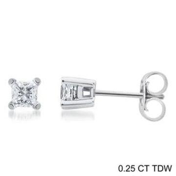 Divina 14k Gold 1/4 to 1 1/2ct TDW Princess-cut Diamond Solitaire Stud Earrings