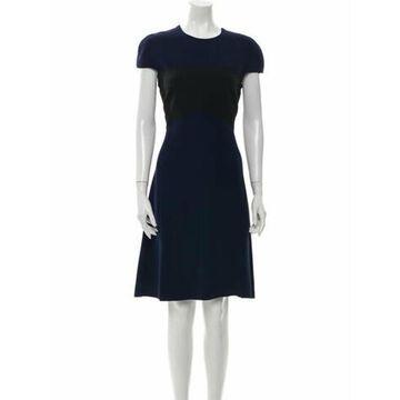 Crew Neck Knee-Length Dress Blue