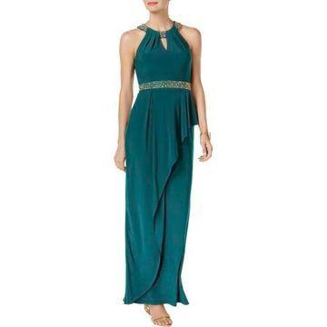 Betsy & Adam Womens Halter Sparkle Evening Dress