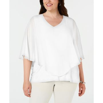 Plus Size Chiffon Overlay Top, Created for Macy's