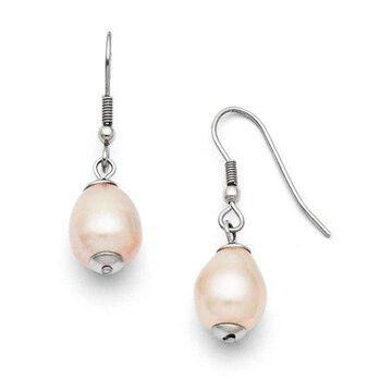 Primal Steel Stainless Steel FW Cultured Pearl Shepherd Hook Earrings