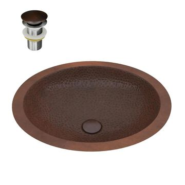 ANZZI Nepal Hammered Antique Copper Copper Drop-In Oval Bathroom Sink (Drain Included) (19-in x 16-in) | BS-001