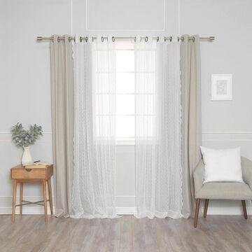 Aurora Home Sheer Pretty Dot & Blackout Curtains - Set of 4 panels