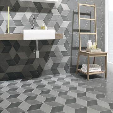 "SomerTile Concret Rombo Vigeland 8.86"" x 10.13"" Porcelain Floor and Wall Tile"