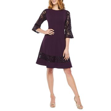 R & M Richards 3/4 Sleeve Fit & Flare Dress