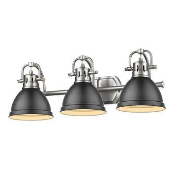 Golden Lighting Duncan 3-Light Pewter Transitional Vanity Light   3602-BA3 PW-BLK