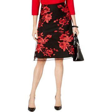 ECI Womens Mesh Floral A-Line Skirt