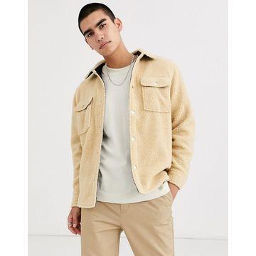 Weekday Irwin borg overshirt in beige