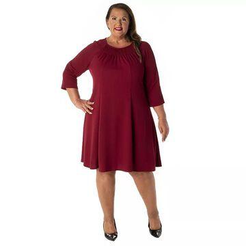 Plus Size Gabby Skye Smocked A-Line Dress, Women's, Size: 14 W, Red
