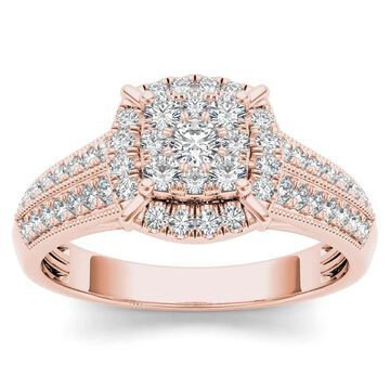 De Couer 10k Rose Gold 1/2ct TDW Diamond Cluster Halo Engagement Ring - Pink (6.5)