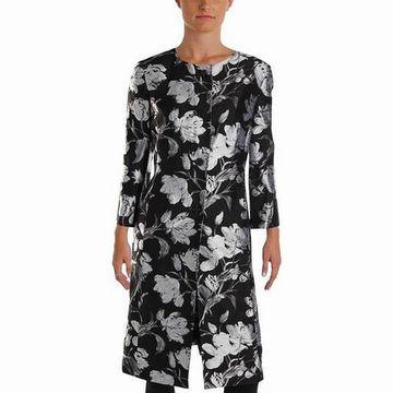 Kasper Women's Floral Jacquard Button Up Jacket