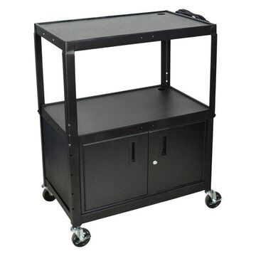 Luxor Extra Wide Steel Adjustable Height A/V Cart With Cabinet
