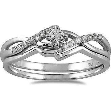 Marquee Jewels 10k White Gold 1/6ct TDW 2-Piece Diamond Ring Set (7)