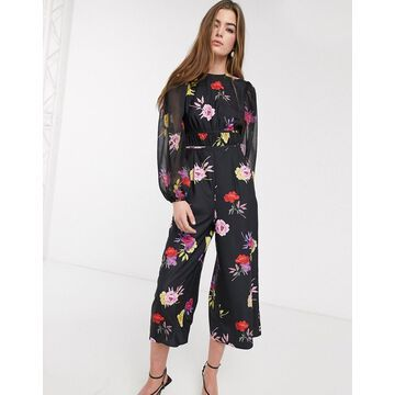 Lost Ink waisted jumpsuit in bold floral print-Black