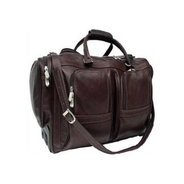 Piel Leather Duffel with Pockets on Wheels