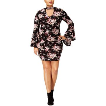 No Comment Womens Plus Choker Bell Sleeve Casual Dress