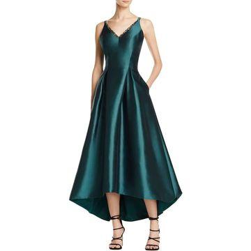 Carmen Marc Valvo Womens Mikado Formal Dress Sleeveless Hi-Low