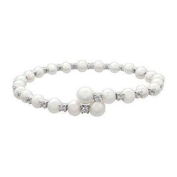 Certified Sofia Bridal Cultured Freshwater Pearl & Swarovski Cubic Zirconia Silver Flex Bangle No Color Family