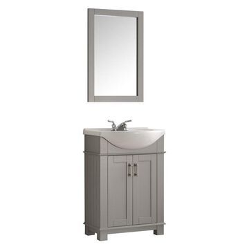 Fresca Cambria 24-in Gray Single Sink Bathroom Vanity with White Ceramic Top