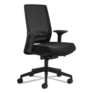 Safco Medina Deluxe Task Chair, Supports up to 275 lbs, Black Seat/Black Back, Black Base