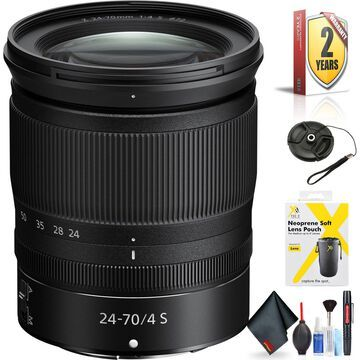 Nikon NIKKOR Z 24-70mm f/4 S Lens for Nikon Z Mount + Accessories (International Model with 2 Year Warranty)