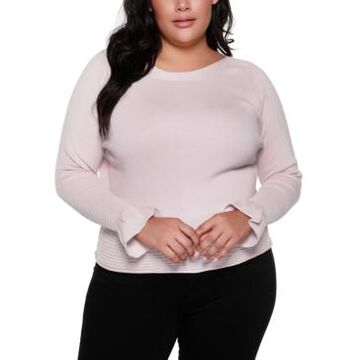 Belldini Black Label Plus Size Boat Neck Sweater With Flounce Sleeves