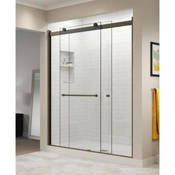 Basco Rotolo 76-in H x 44-in to 48-in W Semi-Frameless Sliding Oil Rubbed Bronze Shower Door (Clear Glass) | RTLA05A4876CLOR
