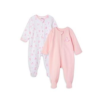 Little Me Girls' Doggy Footed Coverall, 2 Pack - Baby