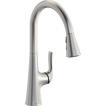 Elkay Harmony Lustrous Steel 1-Handle Deck-Mount Pull-Down Handle Kitchen Faucet (Deck Plate Included)   LKHA1041LS