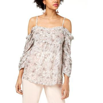 William Rast Womens Ada Blouse Floral Print Off-The-Shoulder