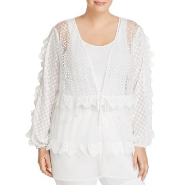 Lost Ink Womens Mesh Lace Cardigan Top