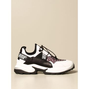 Sergio Rossi Sneakers In Leather And Ripstop Canvas
