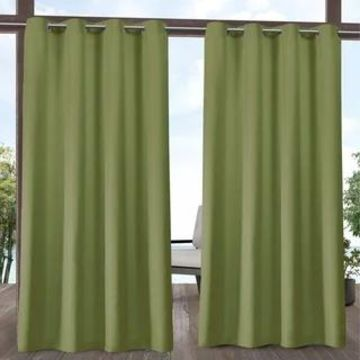 ATI Home Delano Indoor/Outdoor Grommet Top Curtain Panel Pair (54X108 - 108 Inches - Kiwi Green)