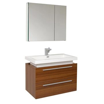 Fresca Senza 32-in Teak Single Sink Bathroom Vanity with White Acrylic Top (Faucet Included) in Brown | FVN8080TK