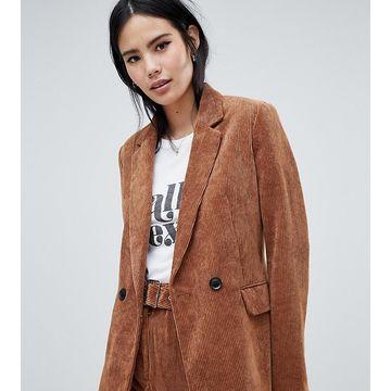Bershka cord blazer in brown