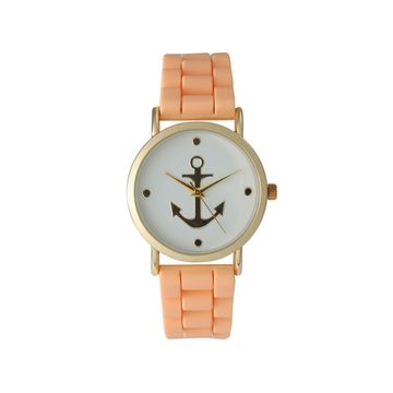 Olivia Pratt Womens Gold Anchor Emblem Dial Coral Silicone Watch