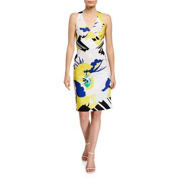 Flower & Stripe Crisscross Strap Dress