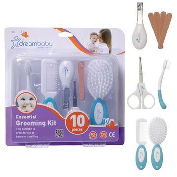 Dreambaby Grooming Kit 10 Baby Comb Brush Nail Clippers Scissors Case Essential