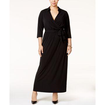 Plus Size Faux-Wrap Maxi Dress