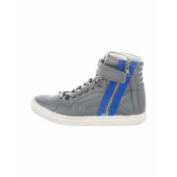 Leather Colorblock Pattern Sneakers Grey