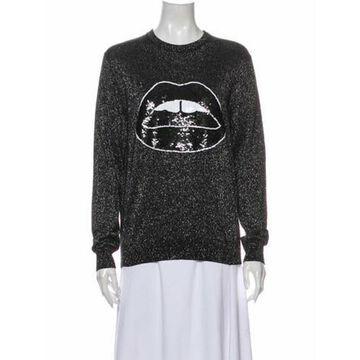 Graphic Print Crew Neck Sweater Black