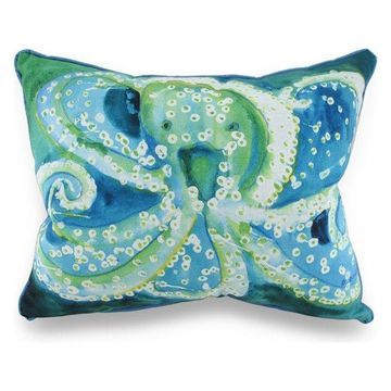 Betsy Drake Colorful Octopus In/Outdoor Decorative Throw Pillow 16in.X20in.
