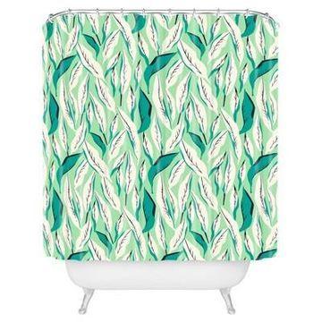Leaf Shower Curtain Green - Deny Designs