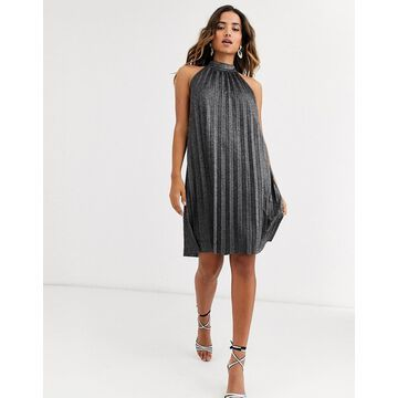 Y.A.S halter neck metallic pleated mini dress-Black