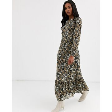 Y.A.S paisley maxi smock dress with volume sleeve-Multi