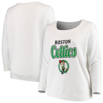Boston Celtics Soft as a Grape Women's Curvy French Terry Slouch Crew Neck Sweatshirt - White