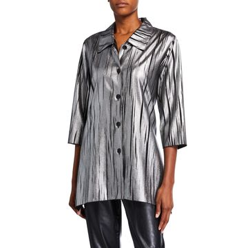Plus Size Button-Front Silver Streak Swing Shirt