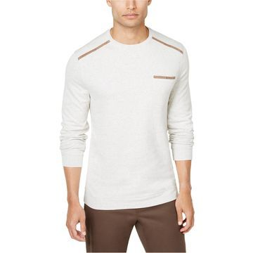 Tasso Elba Mens Faux-Suede Trim Basic T-Shirt