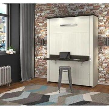 Bestar Lumina Full White/Dark Chocolate Wall Bed with Desk