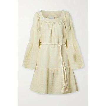 Lisa Marie Fernandez - Belted Linen-blend Gauze Mini Dress - Cream